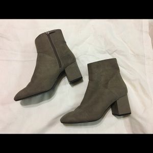 Zara Woman Taupe Suede Ankle Booties